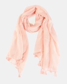 You & I Light Weight Plain Scarf With Tassel Detailing Light Pink