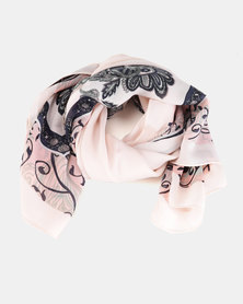 You & I Light Weight Classic Paisley Print Scarf Light Pink