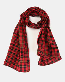You & I Light Weight 90s Style Tartan Scarf Red