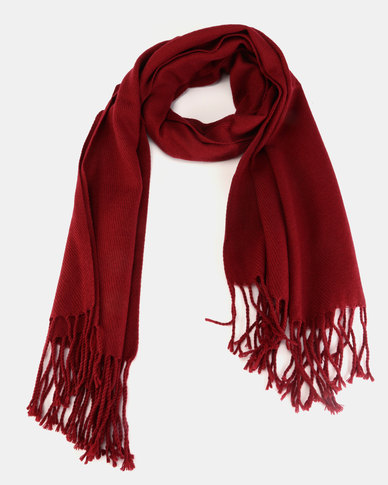 You & I Medium Weight Winter Pashmina with Fringing Burgandy