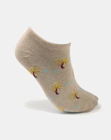 You & I 3 Pack Ankle Socks Palm Trees Mulit