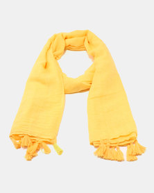 You & I Light Weight Plain Scarf With Tasselaaa Detailing Yellow