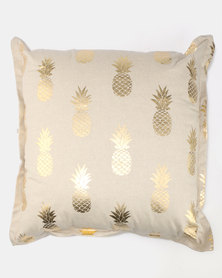 Fabricor Metallic Pineapples Scatter Cushion Gold