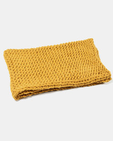 Tassels and Treasures Super Chunky Knit Throw Mustard