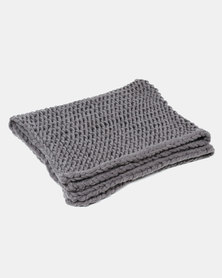 Tassels and Treasures Super Chunky Knit Throw Grey