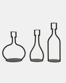 Tassels and Treasures Silhouette Bottles Candleholder 3PC Set Black