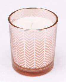 Tassels and Treasures Large Geometric Candle Rose Gold
