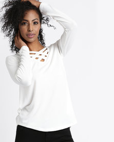 Slick Criss Cross Detail Top Ivory