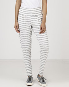 Slick Stripe Classic Casual Pants Ivory/Grey
