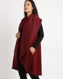 Utopia Sleeveless Melton Coat Red