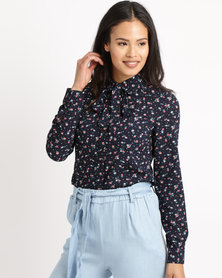 London Hub Fashion Floral Bow Tie Top Navy