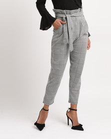 London Hub Fashion Check Paperbag Trousers Monochrome