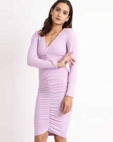 AX Paris Ruched Sleeve Dress Lilac