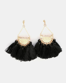 Miss Maxi Tassel Fan Earrings Black