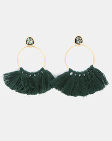 Miss Maxi Fringe Hoop Earrings Green
