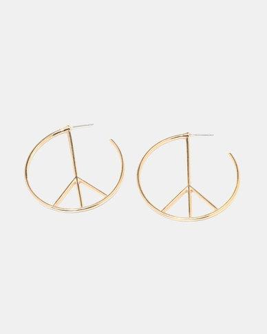 Miss Maxi Peace Hoop Earrings Gold Tone