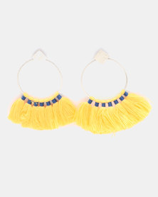 Miss Maxi Circle Fringe Earrings Yellow