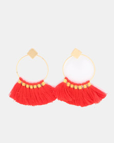 Miss Maxi Circle Fringe Earrings Orange