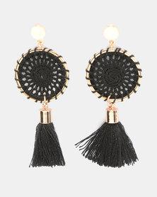 Miss Maxi Statement Crochet Disk Earrings Black