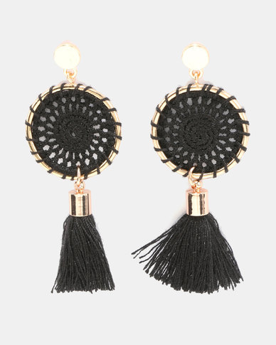 Miss Maxi Statement Crochet Disk Earrings Black