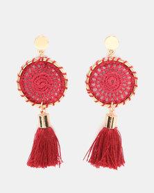 Miss Maxi Statement Crochet Disk Earrings Red