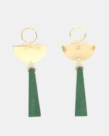 Miss Maxi Drop Statement Earrings Green