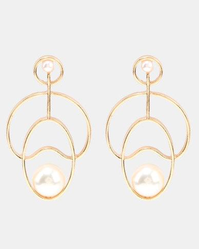 Miss Maxi Pearl Shaped Earrings Gold-tone