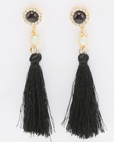 Miss Maxi Jewel Tassel Earrings Black
