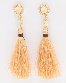 Miss Maxi Jewel Tassel Earrings Nude