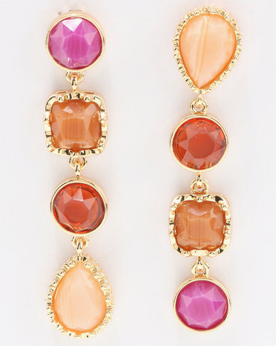 Miss Maxi Stone Drop Earrings Red Multi