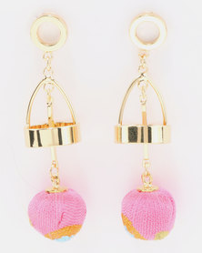 Miss Maxi Detailed Ball Drop Earrings Pink/Gold-tone