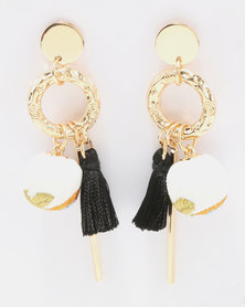 Miss Maxi Detailed Ball and Tassel Drop Earrings Black/Gold-tone