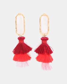 Miss Maxi Multi Tassel Drop Earrings Red