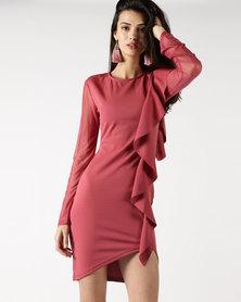 Legit Long Sleeve Mesh Side Frill Bodycon Dress Dark Blush