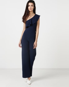 Legit One Shoulder Frill Wide Leg Jumpsuit Navy