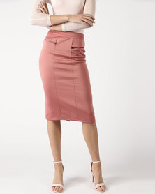 Legit Mock Pocket Detail Pencil Skirt Blush