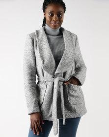 Legit Roll Collar Self Belt Jacket Grey