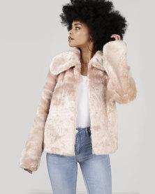 Legit Full Faux Fur Jacket Blush