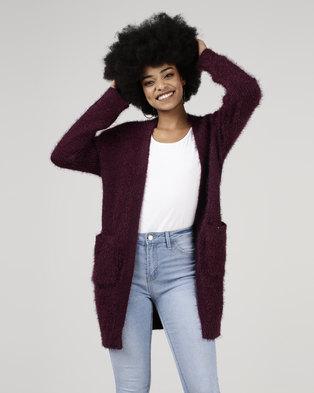 Legit Longer Length Fluffy Cardigan Plum