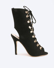 Legit Peeptoe Lace Up Stiletto With Gold D-ring Black
