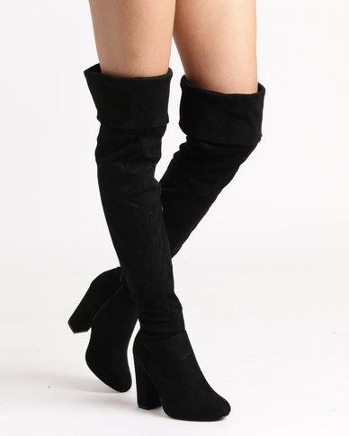 483403fac00 Legit Fold Over Knee High Block Heel Boots Black