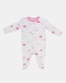 Creative Design Clouds Babygrow Pink/White
