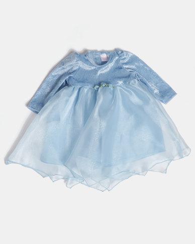 Fairy Shop LS Organza Baby Dress Blue