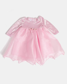 Fairy Shop LS Organza Baby Dress Pink