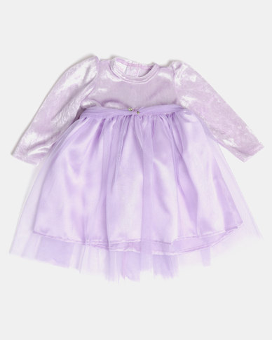 Fairy Shop LS Satin & Mesh Baby Dress Lilac