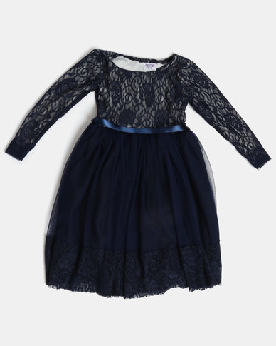 eea9056a389 Fairy Shop LS Lace Dress Navy
