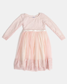 Fairy Shop LS Lace Dress Pink