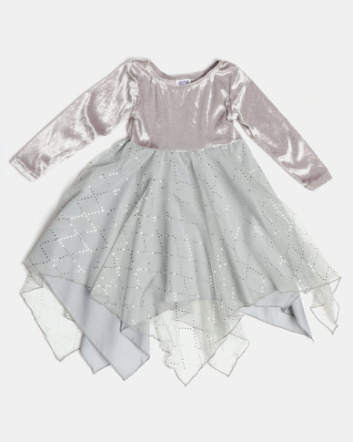 af6aafac43a Fairy Shop LS Sequin Hanky Dress Silver