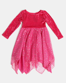 Fairy Shop LS Sequin Hanky Dress Fuschia