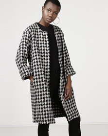 Utopia Houndstooth Melton Casual Coat Black